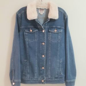 Mossimo Supply Co Jeans Jacket, 'Fur' Collar, SzXS